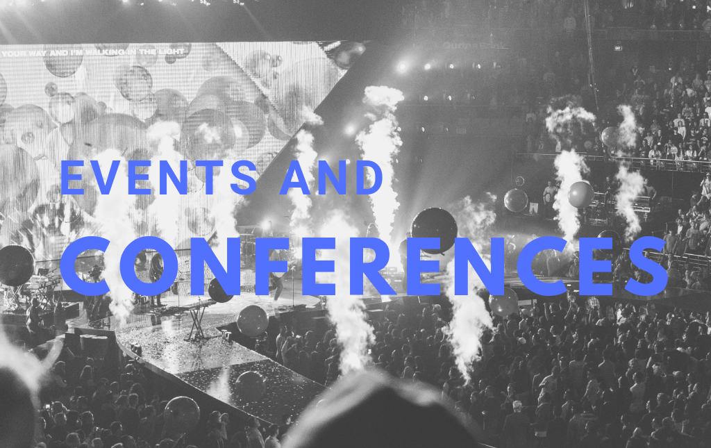 'Events and Conferences' shown over a background image showing lively church conference